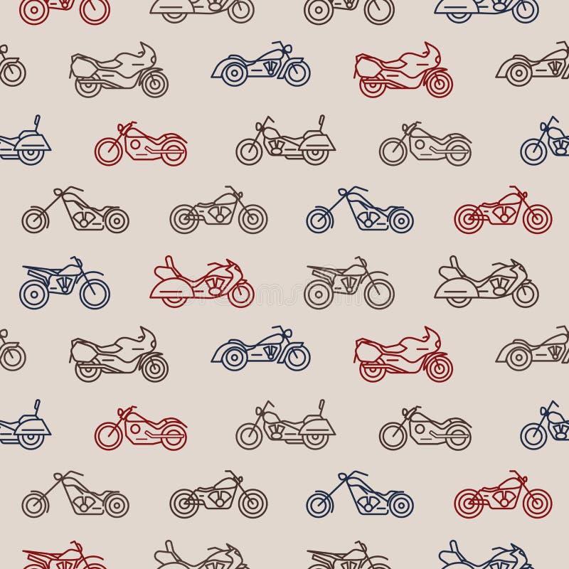 Nahtloses Muster mit Motorrädern von den verschiedenen Modellen gezeichnet mit bunten Tiefenlinien auf hellem Hintergrund - Zerha lizenzfreie abbildung