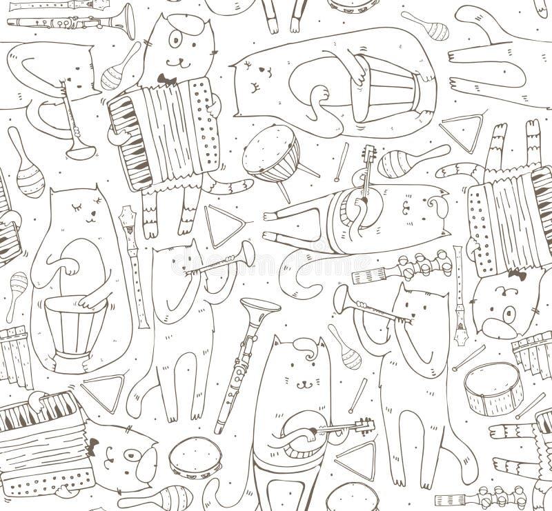 Nahtloses Muster mit Musikerkatzen und Musikinstrumenten stock abbildung
