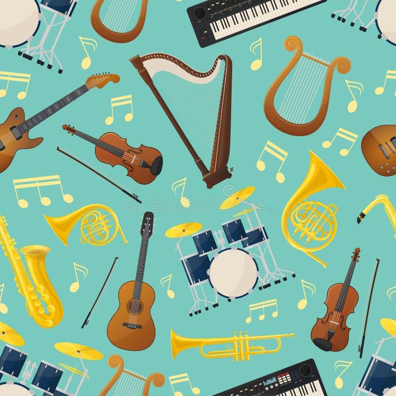 Nahtloses Muster mit Musikgitarren- und -trommelausrüstung lizenzfreie abbildung