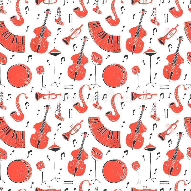Nahtloses Muster mit Musikinstrumenten vektor abbildung