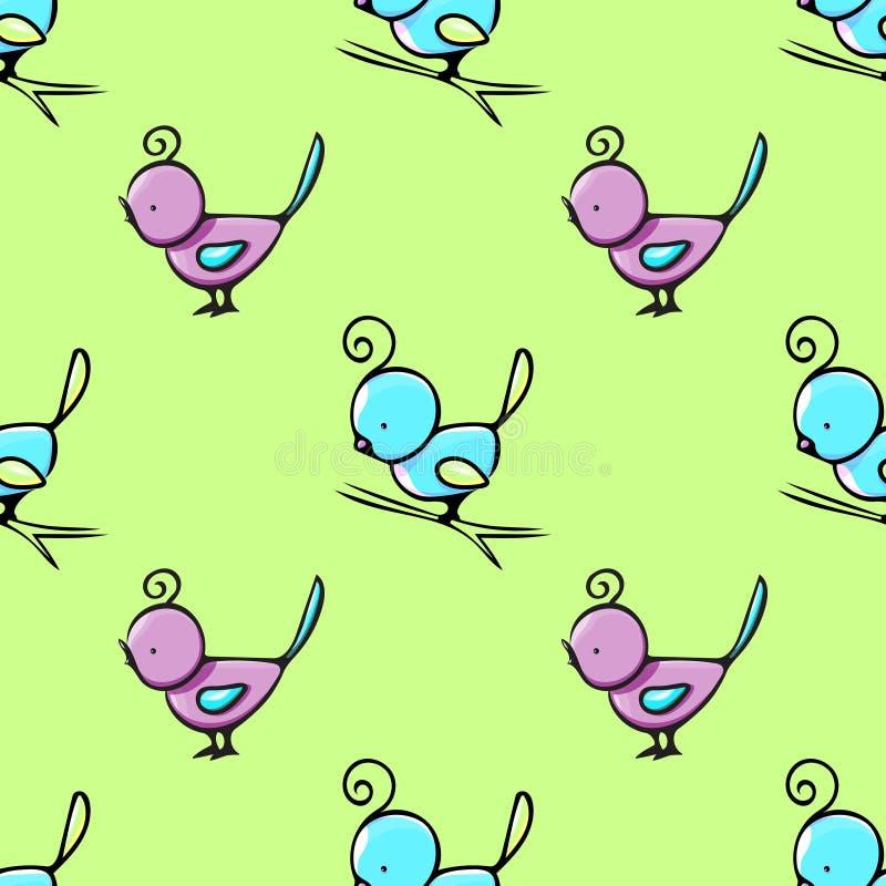 Nahtloses Muster mit nette Hand gezeichneten Vögeln stockbild