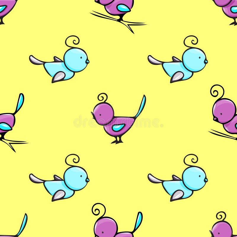 Nahtloses Muster mit nette Hand gezeichneten Vögeln lizenzfreies stockbild