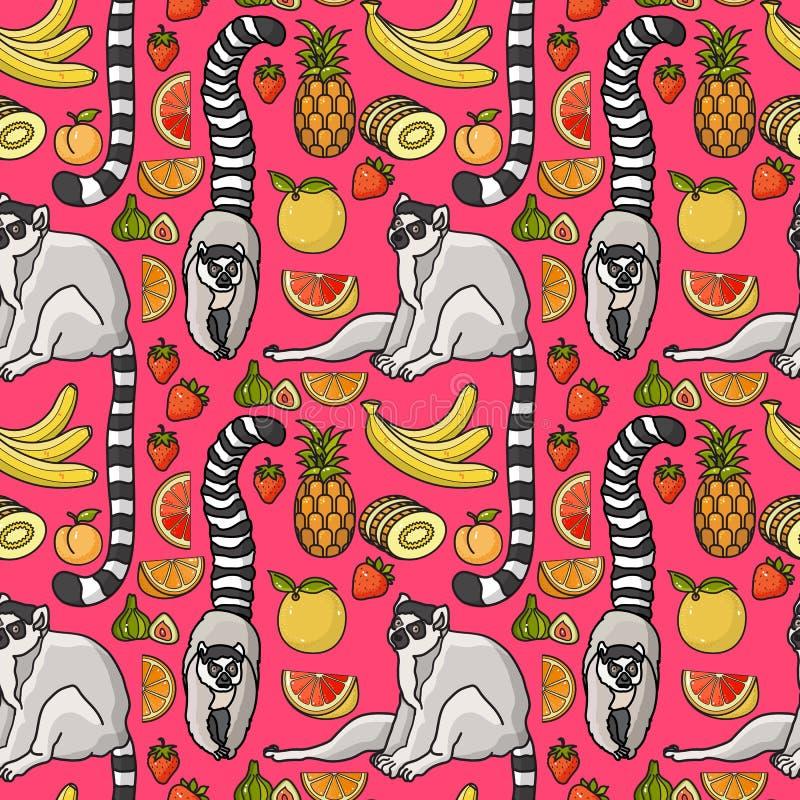 Nahtloses Muster mit nettem Karikaturmaki, tropische Frucht lizenzfreie abbildung