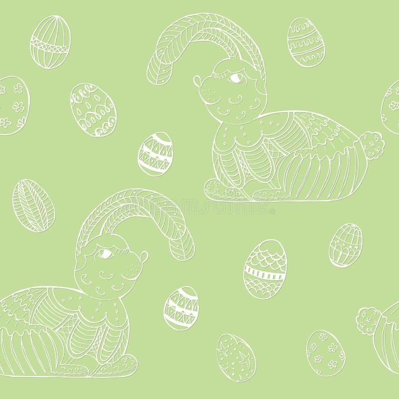 Nahtloses Muster mit nettem Osterhasen und Eiern lizenzfreie abbildung