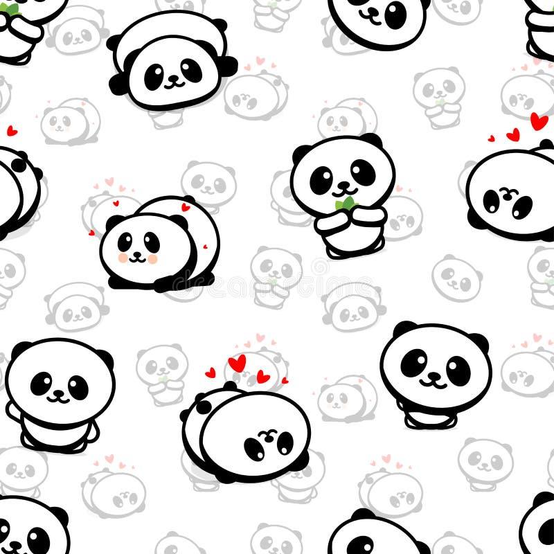 Nahtloses Muster mit nettem Panda Asian Bear Vector Illustrations, Sammlung chinesische Tier-einfache Beschaffenheits-Elemente stock abbildung