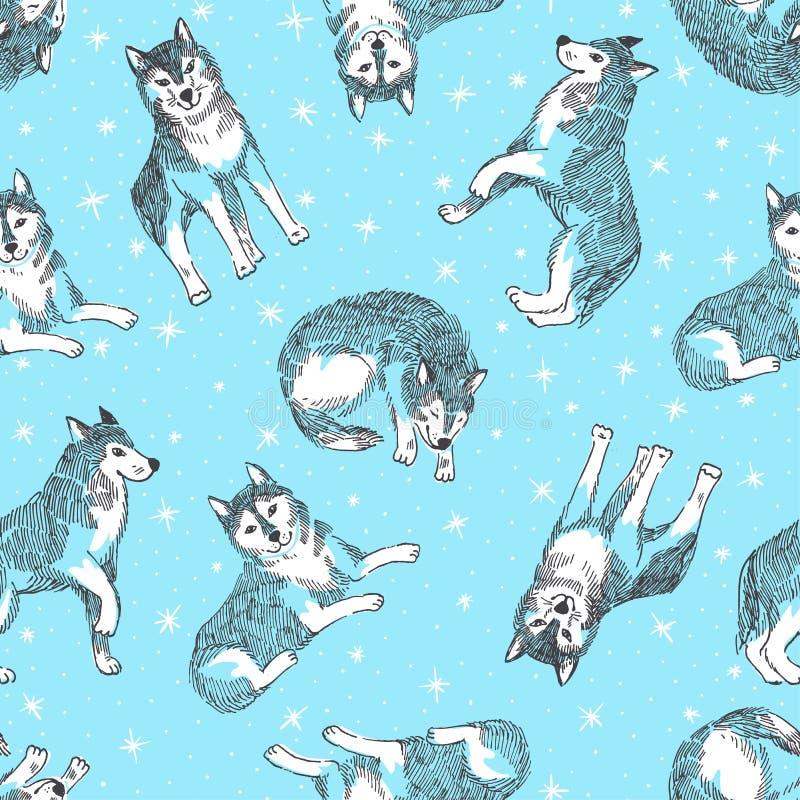 Nahtloses Muster mit nettem Schlittenhund mit Schneeflocken Vektortierhintergrund Design für chinesisches neues Jahr des Hundes lizenzfreie abbildung