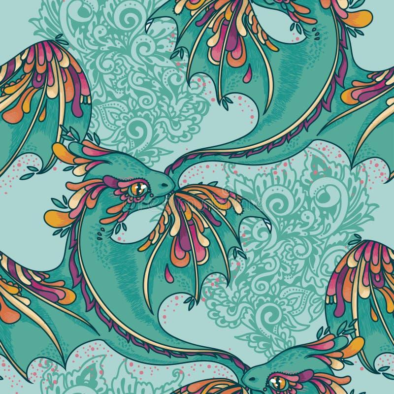 Nahtloses Muster mit netten bunten Drachen lizenzfreie abbildung