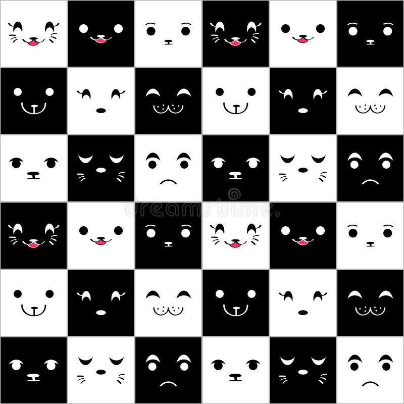Nahtloses Muster mit netten cartoonfaces stock abbildung