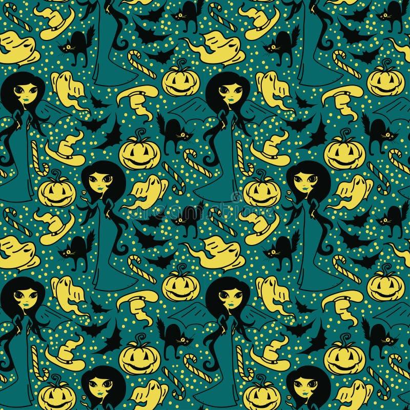 Nahtloses Muster mit netten Gekritzelhexen und traditionellen Halloween-Sachen lizenzfreie abbildung