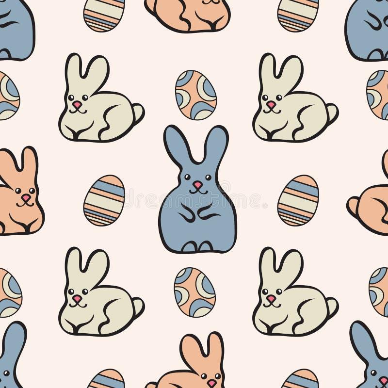 Nahtloses Muster mit netten Häschen und Ostereiern Rote Tulpe und farbige Eier Vektor eps10 lizenzfreie abbildung