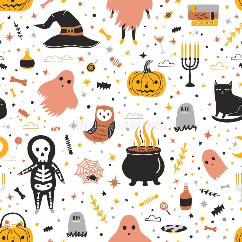 Nahtloses Muster mit netten Halloween-Geschöpfen und -einzelteilen auf weißem Hintergrund - Jack-O '- Laterne, Süßigkeiten, schwa lizenzfreie abbildung