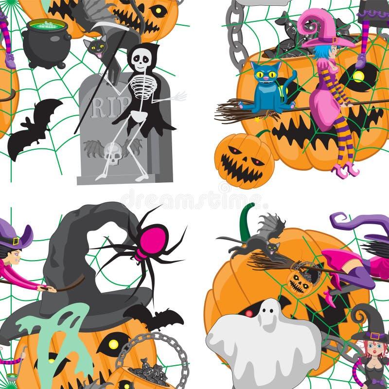 Nahtloses Muster mit netten Halloween-Geschöpfen und -einzelteilen auf weißem Hintergrund - Jack-O '- Laterne, Süßigkeiten, Hexen vektor abbildung