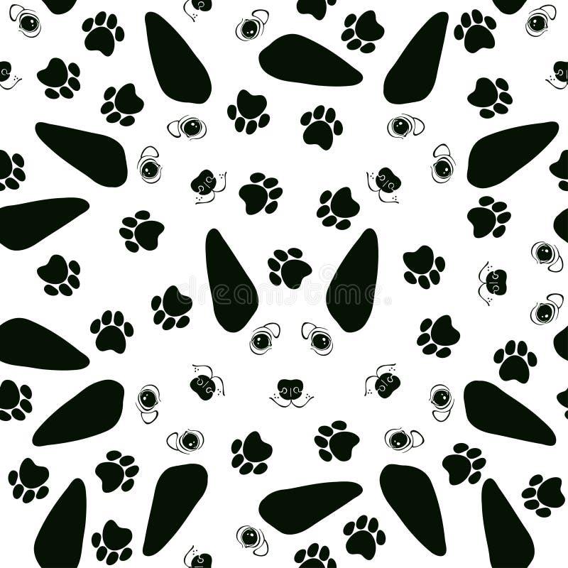 Nahtloses Muster mit netten Hundegesichtern und -Hunderennbahnen Lokalisiert auf Weiß vektor abbildung