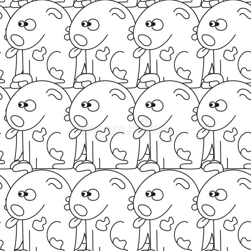 Nahtloses Muster mit netten Hunden Vektorillustration mit lustigen Welpen vektor abbildung