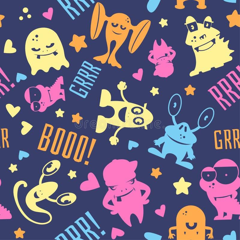 Nahtloses Muster mit netten Karikaturmonstern, -blasen und -wörtern hallo, Monster lizenzfreie abbildung