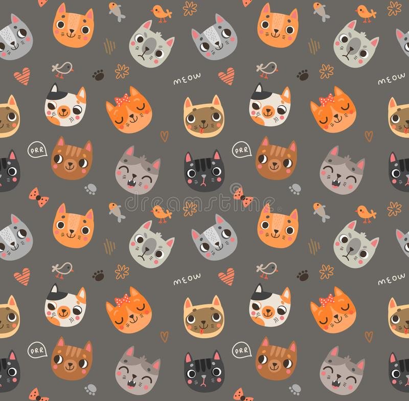 Nahtloses Muster mit netten Katzen lizenzfreie abbildung