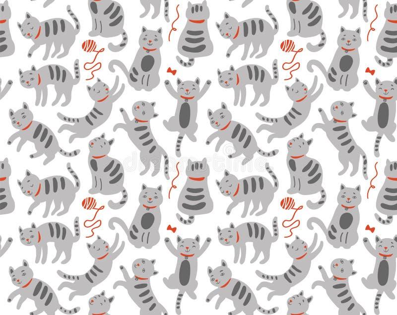 Nahtloses Muster mit netten Katzen stock abbildung