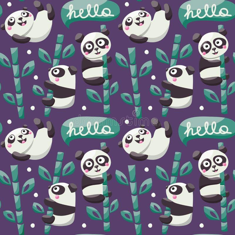 Nahtloses Muster mit netten Pandas, Bambus, Blätter lizenzfreie abbildung