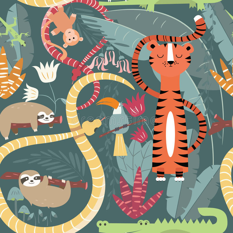 Nahtloses Muster mit netten Regenwaldtieren, Tiger, Schlange, Trägheit vektor abbildung