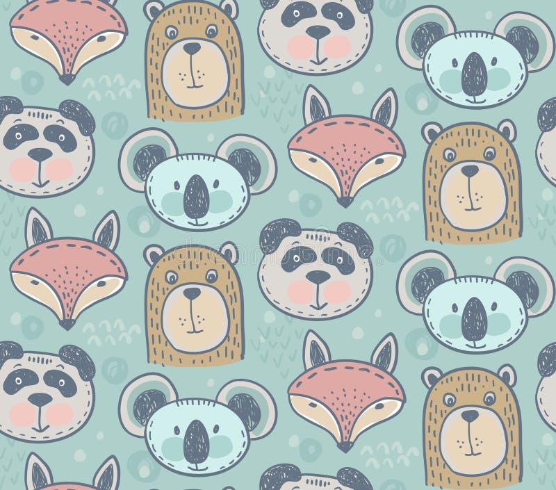 Nahtloses Muster mit netten Tieren lizenzfreie abbildung