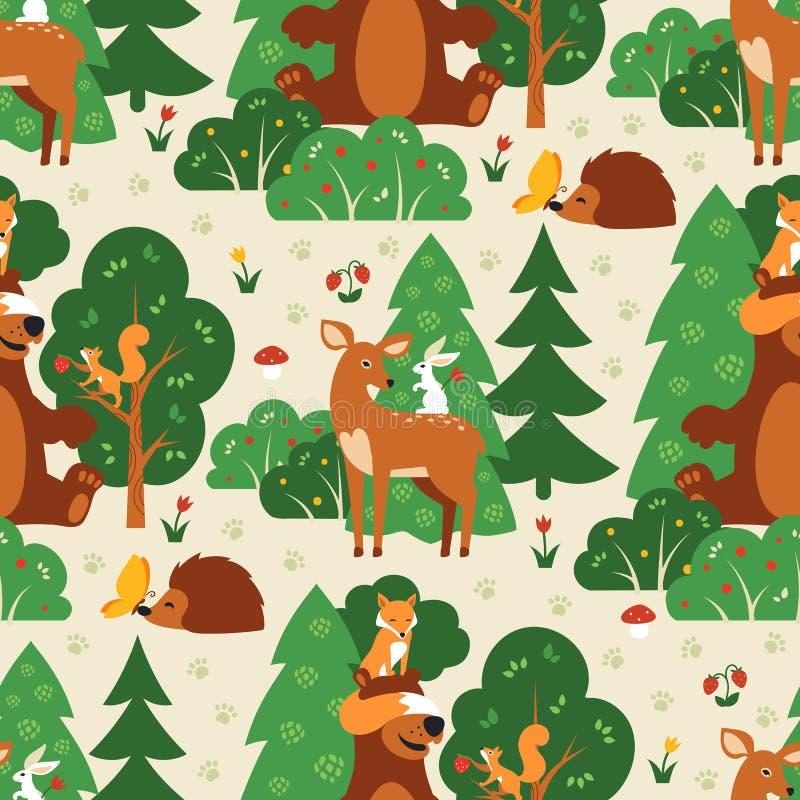 Nahtloses Muster mit netten wilden Tieren in grünem Waldfox, Eichhörnchen, Bär, Hase, Rotwild, Igeles, Schmetterling lizenzfreie abbildung