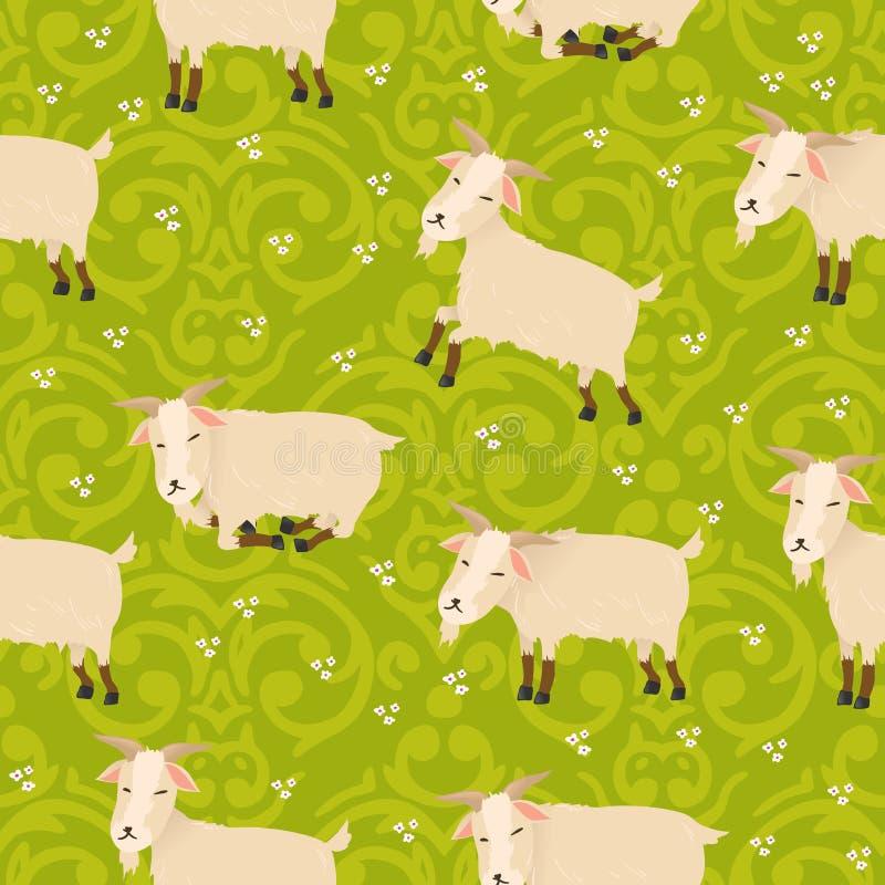 Nahtloses Muster mit netten Ziegen lizenzfreie abbildung