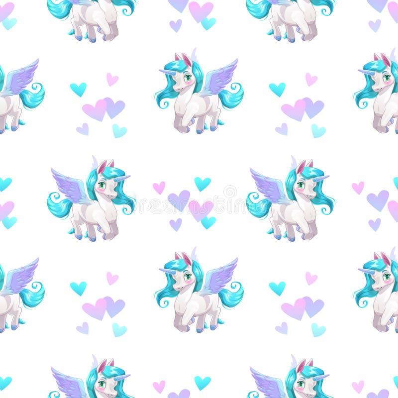 Nahtloses Muster mit netter Karikatur Pegasus stock abbildung