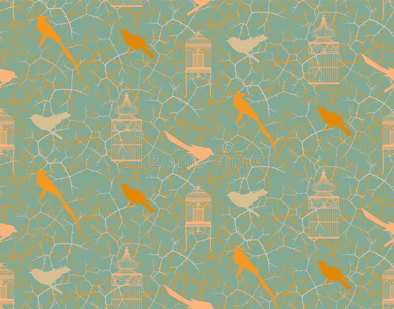 Nahtloses Muster mit Niederlassungen, den Dornen, den Vögeln und Weinlese Birdcage vektor abbildung