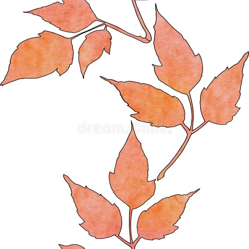 Nahtloses Muster mit orange Bl?ttern des Aquarells stock abbildung