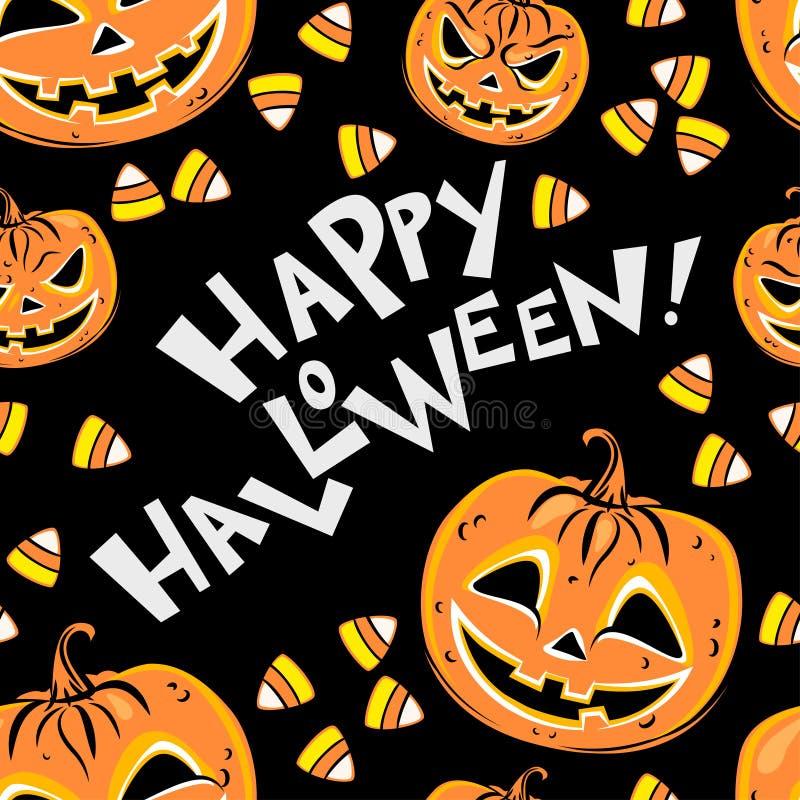 Nahtloses Muster mit orange Halloween-Kürbisen und -süßigkeiten stock abbildung