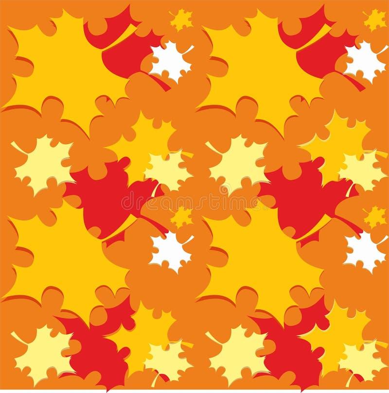 Nahtloses Muster mit orange Herbstfall verlässt - Vektor lizenzfreie stockbilder