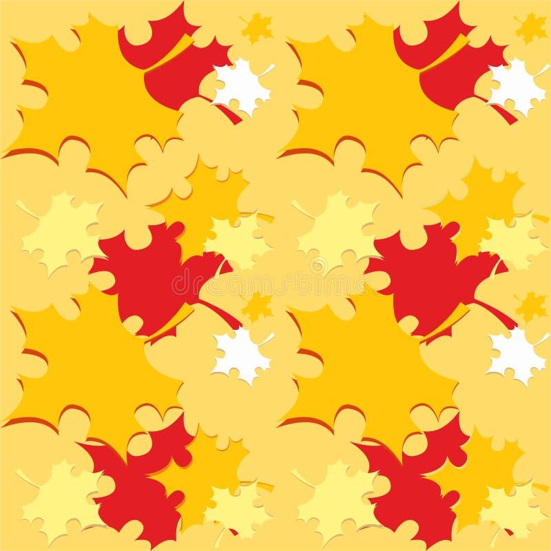 Nahtloses Muster mit orange Herbstfall verlässt - Vektor stockbild