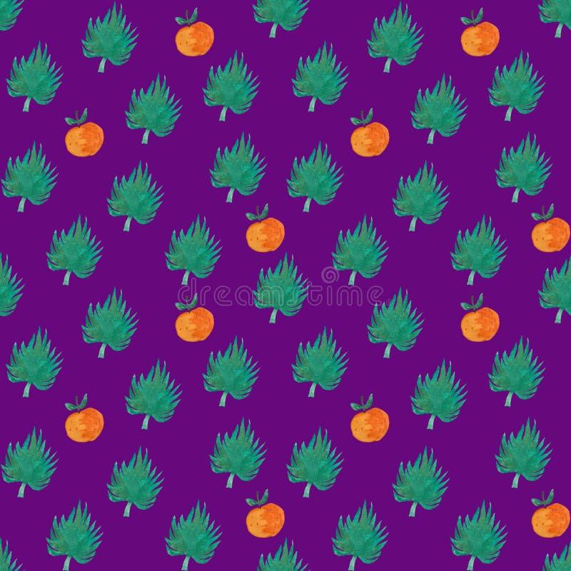 Nahtloses Muster mit orange und exotischem Blatt lizenzfreie abbildung