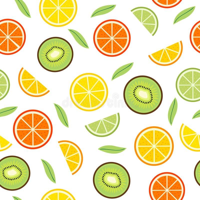 Nahtloses Muster mit Orange und Kiwi lizenzfreie abbildung