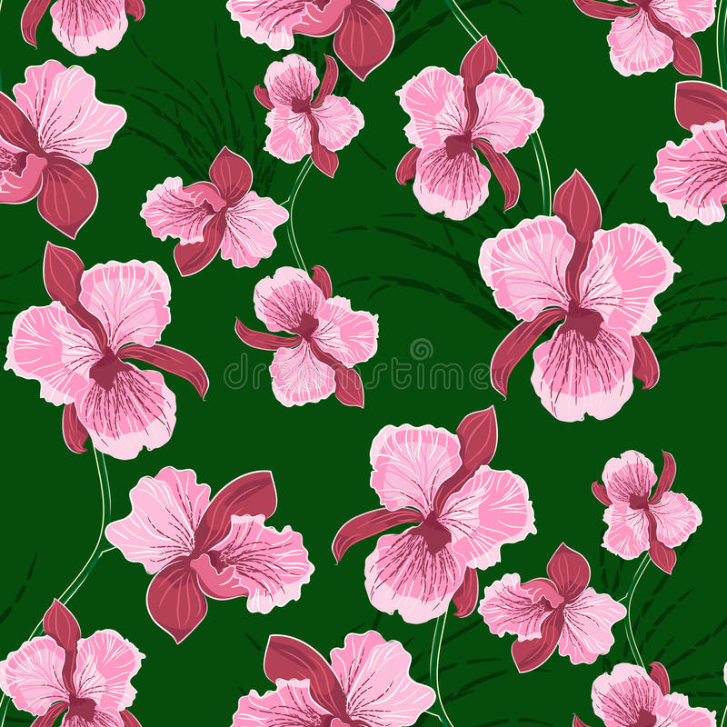 Nahtloses Muster mit Orchidee vektor abbildung