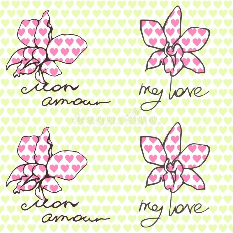 Nahtloses Muster mit Orchideen und Aufschriften über Liebe auf englisches und französisch vektor abbildung