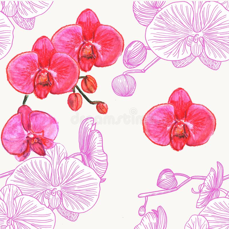 Nahtloses Muster mit Orchideen watercolor stock abbildung