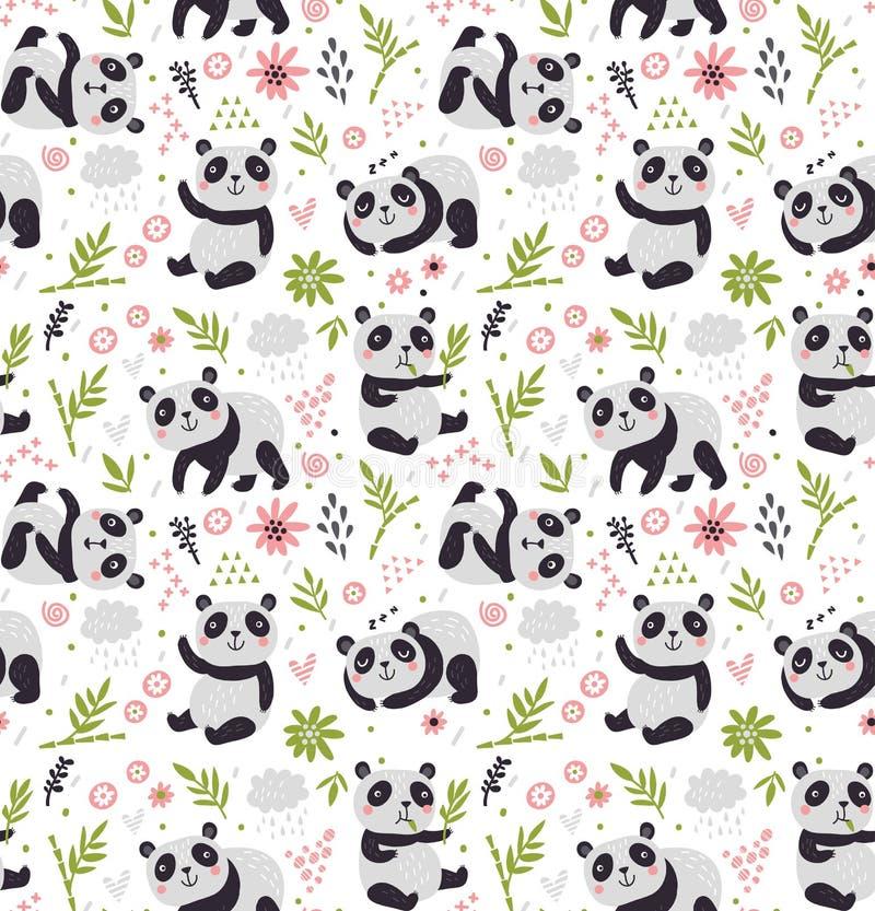 Nahtloses Muster mit Pandas lizenzfreie abbildung
