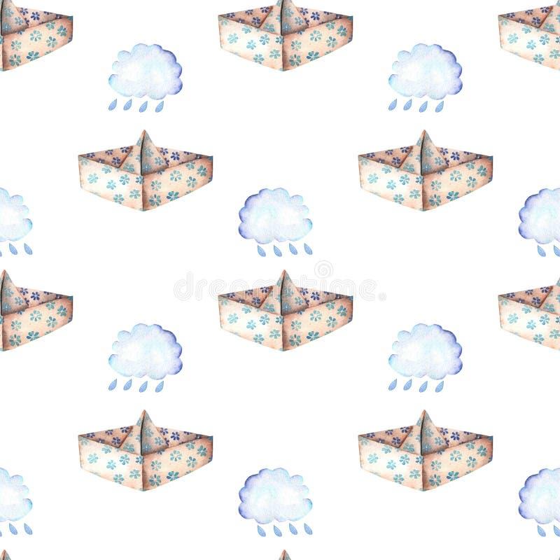 Nahtloses Muster mit Papierbooten und Regenwolken lizenzfreie abbildung
