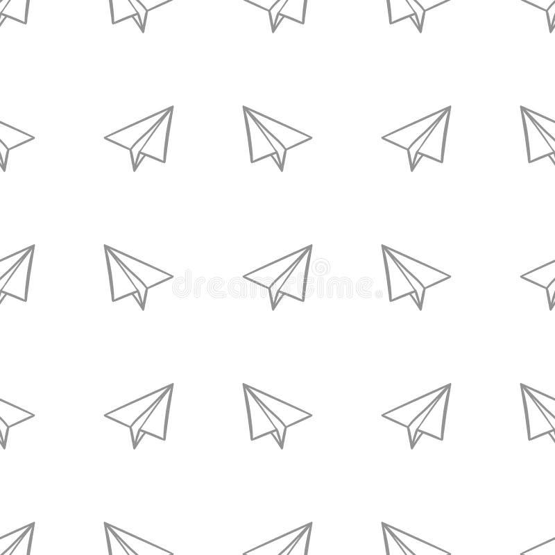 Nahtloses Muster mit Papierflugzeugen im Gekritzel, Handzeichnende Art auf einer weißen Hintergrund Vektorillustration stock abbildung