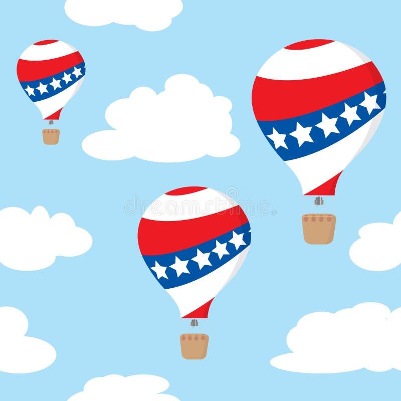 Nahtloses Muster mit patriotischen Heißluftballonen stock abbildung