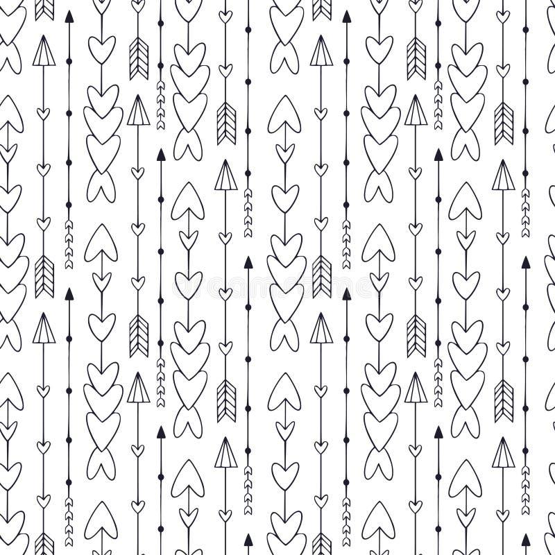 Nahtloses Muster mit Pfeilen Moderner ethnischer Druck Schwarzweiss-Pfeilhintergrund stock abbildung