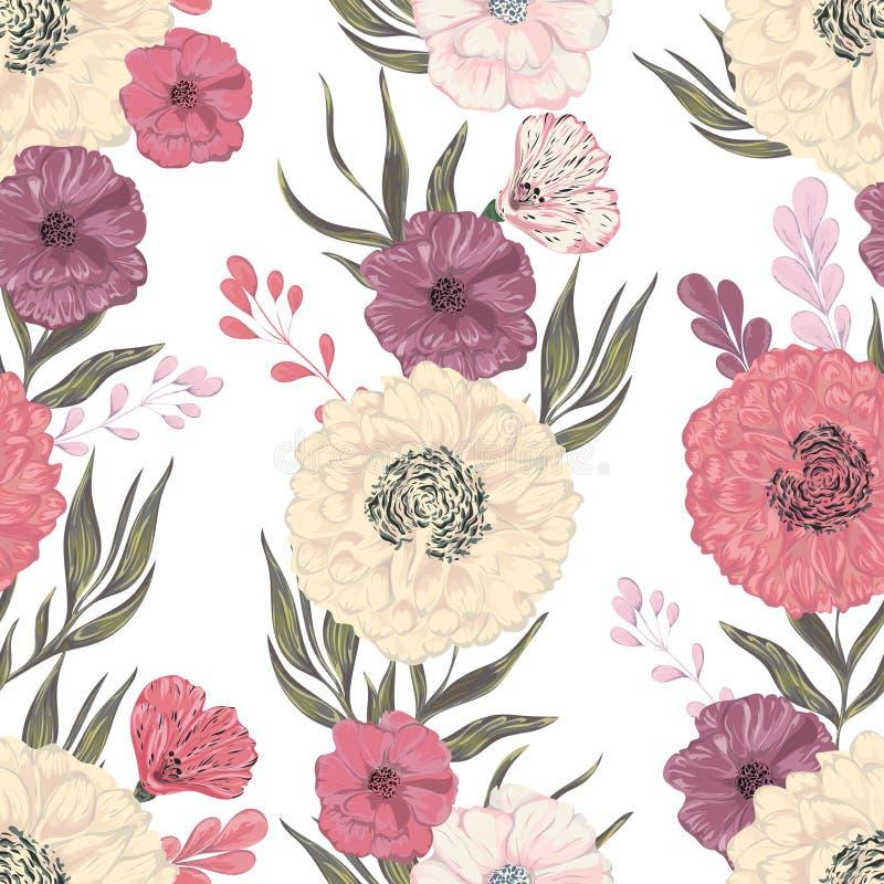 Nahtloses Muster mit Pfingstrose, Dahlie und Mohnblume Dekorative Blumenmusterelemente der Sammlung stock abbildung