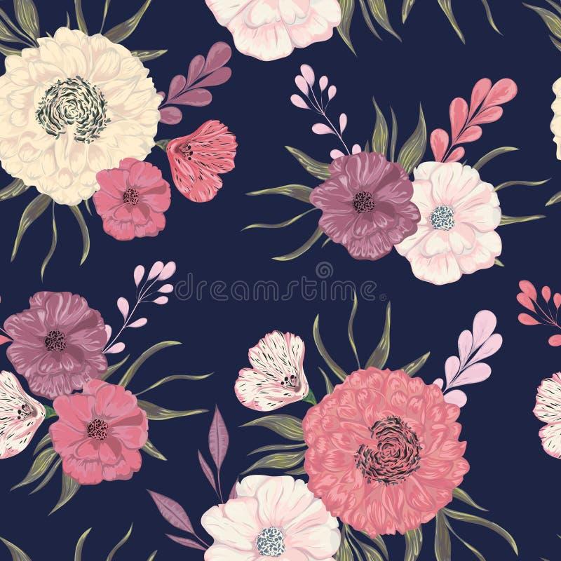 Nahtloses Muster mit Pfingstrose, Dahlie und Mohnblume Dekorative Blumenmusterelemente der Sammlung für Heiratseinladungen und Ge lizenzfreie abbildung