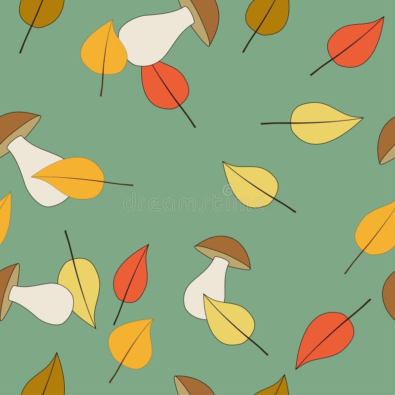 Nahtloses Muster mit Pilzen und Blättern lizenzfreie stockbilder