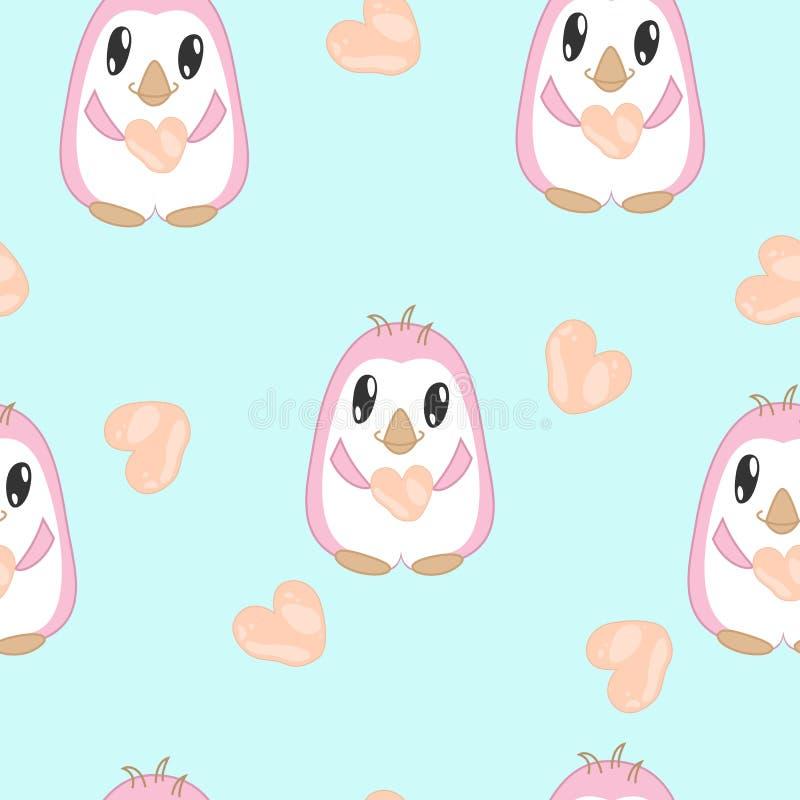 Nahtloses Muster mit Pinguinen in den Pastellfarben lizenzfreie abbildung