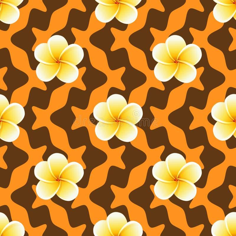 Nahtloses Muster mit Plumeriablumen auf abstraktem geometrischem Hintergrund lizenzfreie abbildung