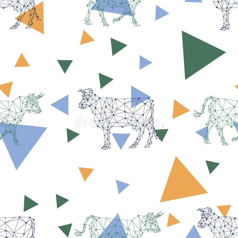 Nahtloses Muster mit polygonalen Bildern von Kühen und von Dreiecken lizenzfreie abbildung