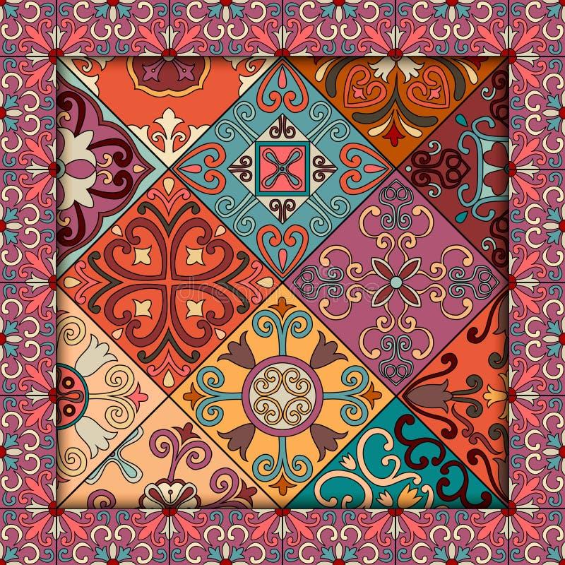 Nahtloses Muster mit portugiesischen Fliesen in Talavera-Art Azulejo, Marokkaner, mexikanische Verzierungen lizenzfreie abbildung