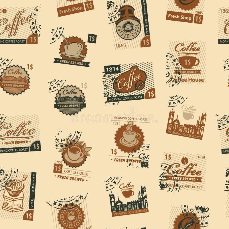 Nahtloses Muster mit Poststempeln auf Kaffeethema lizenzfreie abbildung